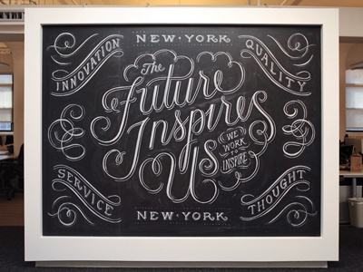 AKQA NYC chalk lettering hand lettering typography installation swash swirl filigree script freehand