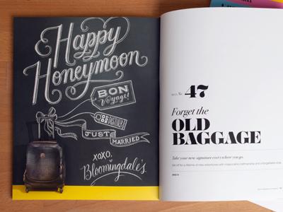 Bloomies chalk lettering script vintage photo marriage honeymoon suitcase catalog registry bridal