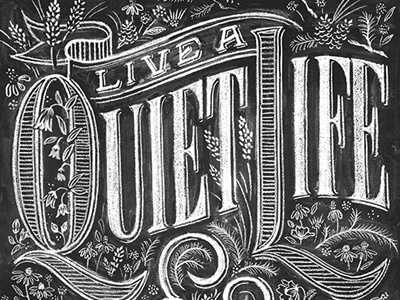Quiet chalk lettering poster typography floral quiet screenprint vahalla