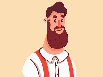 Hipster Beard character design adobe draw hipster beard man vector