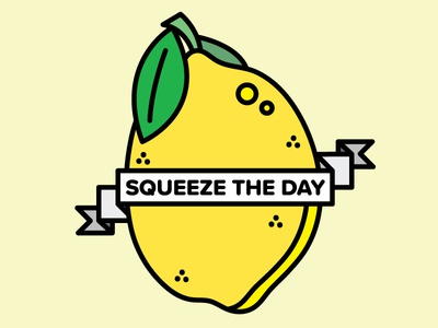 Squeeze The Day lemon design peaches illustration