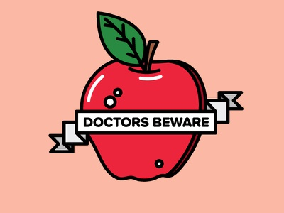 Doctors Beware puns apple stickers illustration design