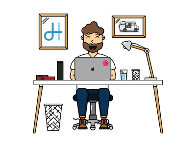 My Personal Space computer caricature portrait dribbble desk illustration