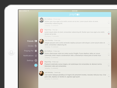 Prayrbox for iOS on iPad