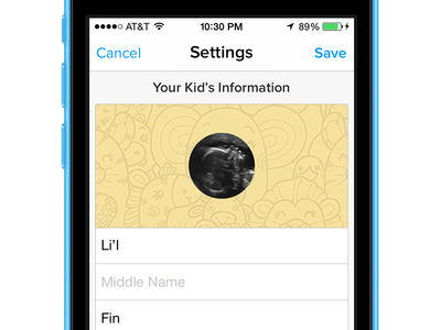 Bitsy Log - Settings baby app iphone chameleon kickstarter cute settings form table