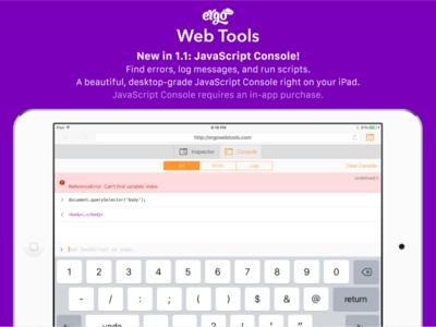 Marketing Screenshots: JavaScript Console ipad ios app