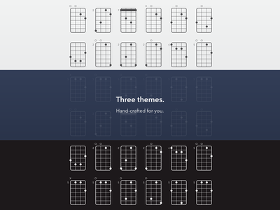 Three themes. chords ios ipad app music guitar ukulele mandolin