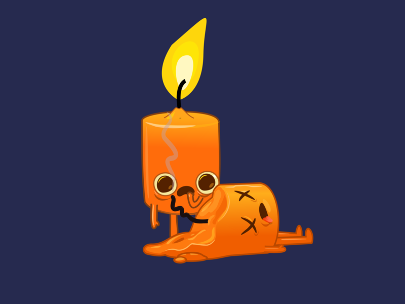 Blown out yellows dead creepy funny candle