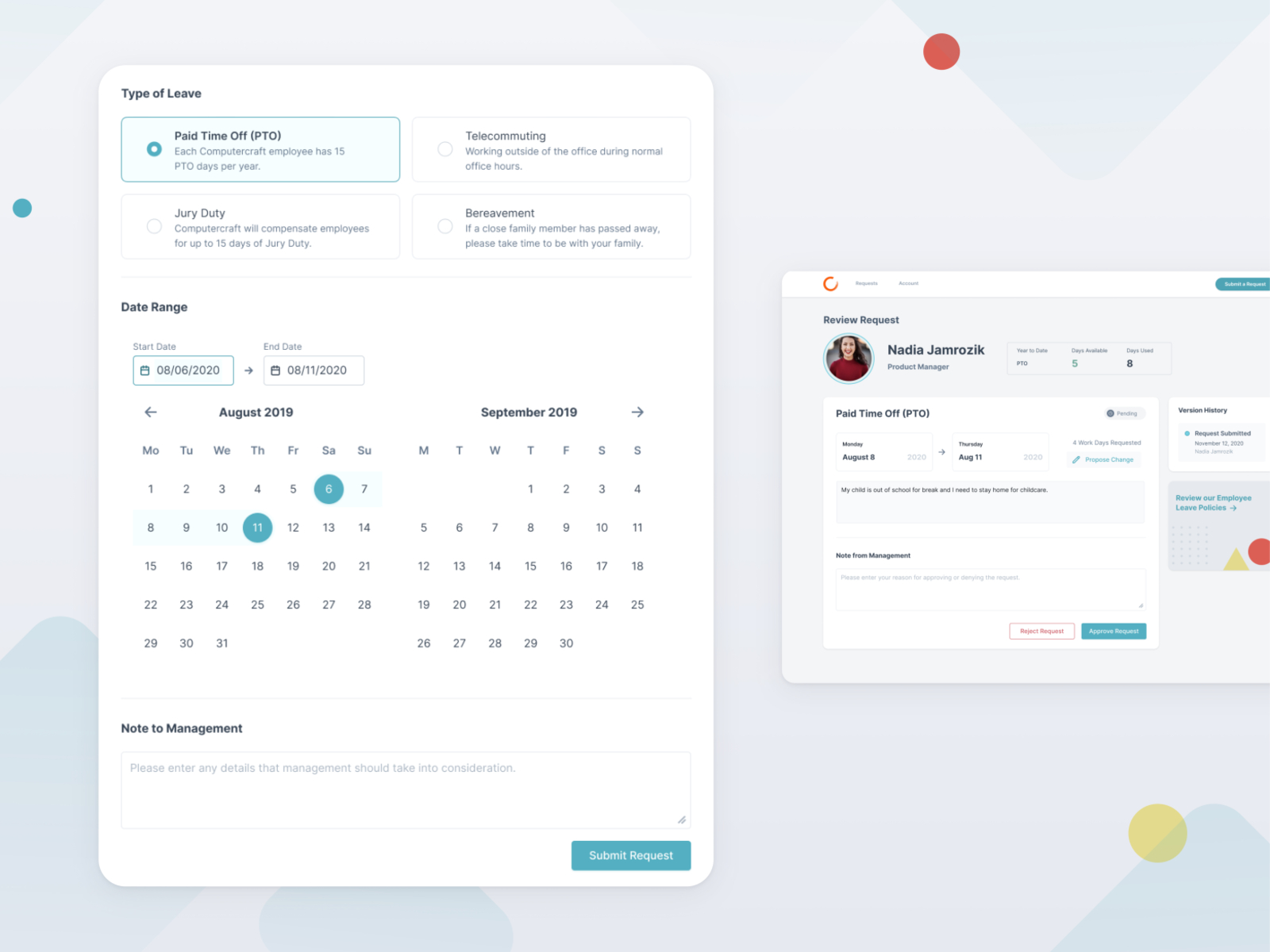 Leave Management System By Nadia Jamrozik For Leverege On Dribbble