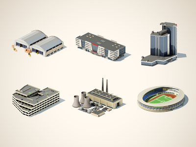 3d icons building 3d max vray