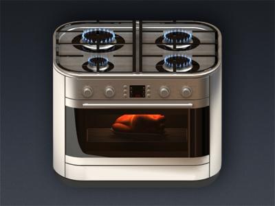 gas-cooker icon ios gas chicken fire 3dmax vray fumefx