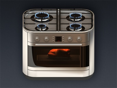 gas-cooker icon ios gas chicken fire 3dmax vray fumefx