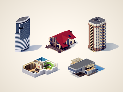 3d icons2 building 3d max vray icon