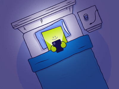 Bed Browser nighttime bedroom bed phone illustration simple