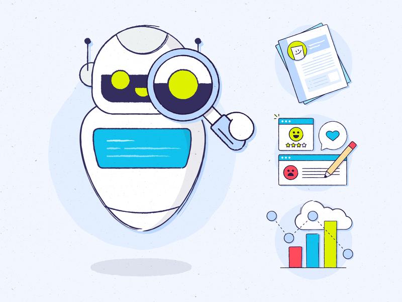 AI-Backed Text Analytics adobe text analytics robot ai simple illustrator
