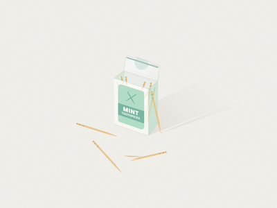 Toothpicks subtle line simple illustration mint toothpick