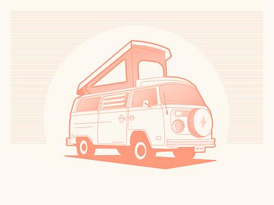 VW Westfalia retro vw bus illustration transportation camper van westfalia volkswagen