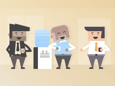 The gang's all here flat character the boys water cooler illustrator