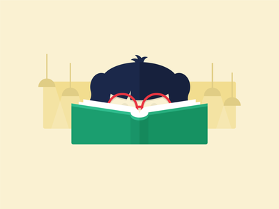 Bookworm reading library book illustrator