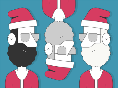 Off Season Santas illustrator simple line christmas santa