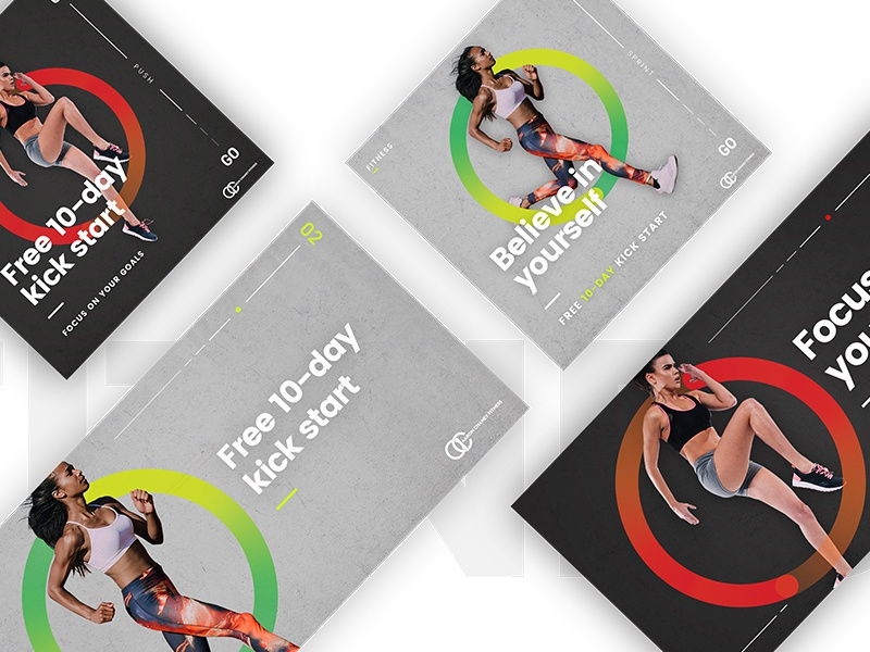 Aaron Chaney Fitness Ads clean layout case studies fitness graphic design