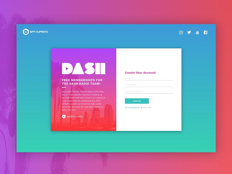 Dash Landing Page ui design web design responsive design music case studies