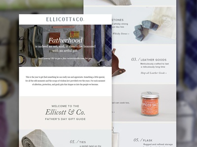 Ellicott & Co. Father's Day Gift Guide photography heavy small business store shopping product centered design gift guide digital design email