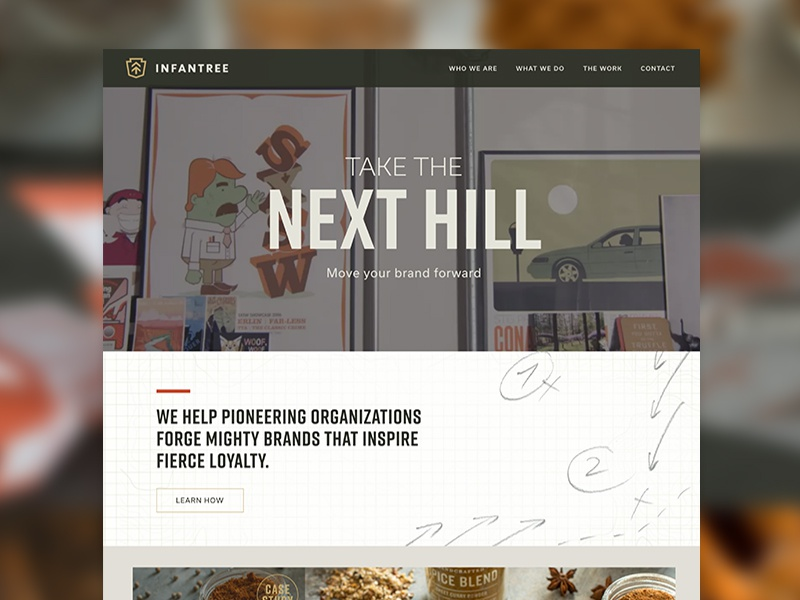Take the Next Hill project site portfolio video background nuetrals muted colors web design infantree lancaster agency site