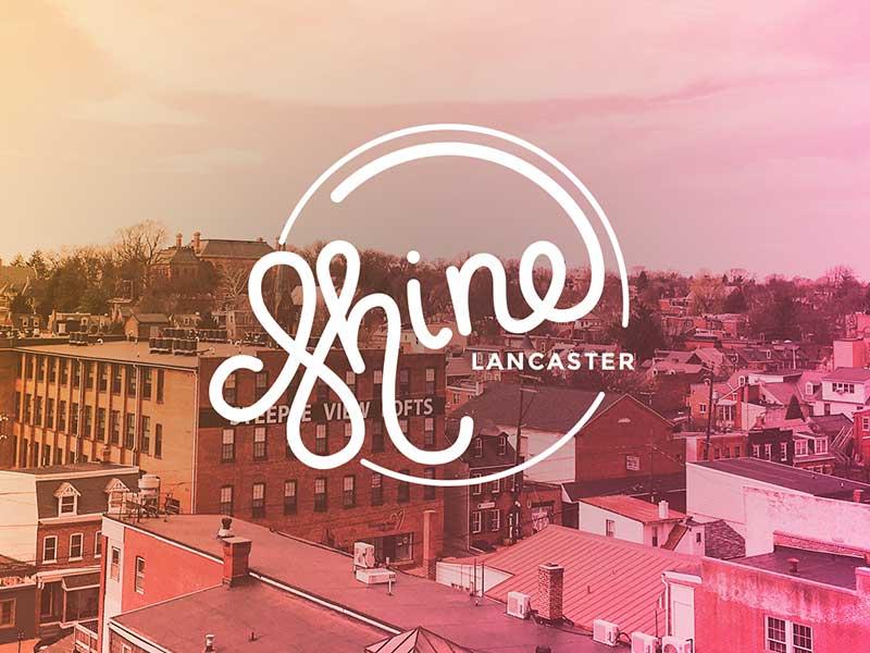 Shine Lancaster lancaster overlay gradient logo lettering
