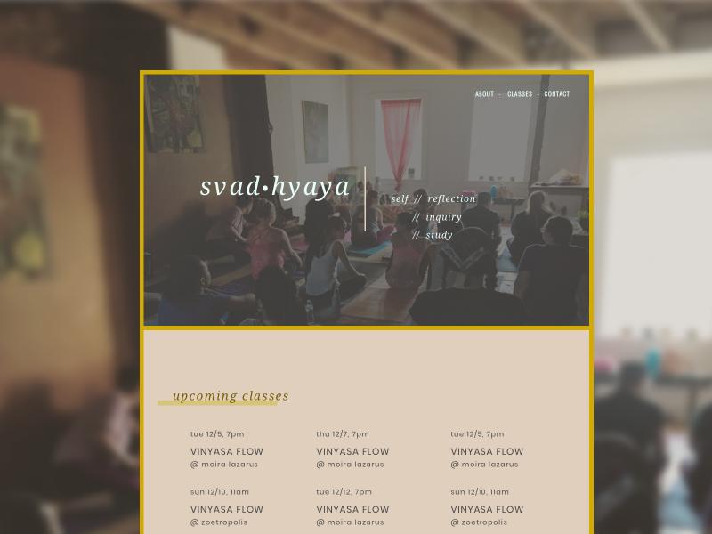 Svad•hyaya: Studio Page event site one page site website event one page studio new age yoga