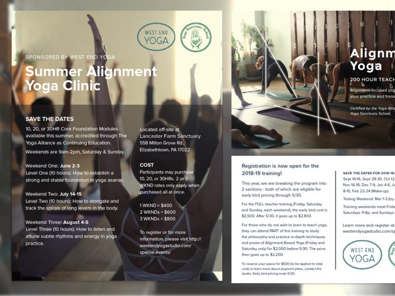 Align yoga event flyer post card print materials
