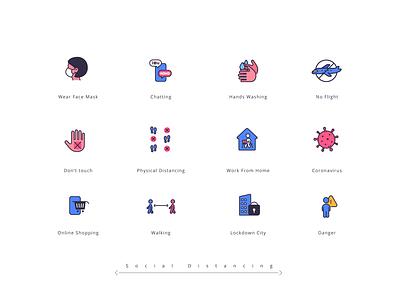 Social Distancing elements social distancing element color branding vector graphic design illustration icons