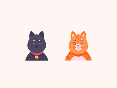 There are 2 types of Cats flat logo elements color characterdesign animals cats vector graphic design illustration icons