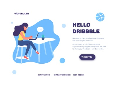 Hello Dribbble ! graphic  design character design illustration