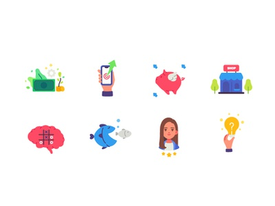 Business and Finance icon set icons design