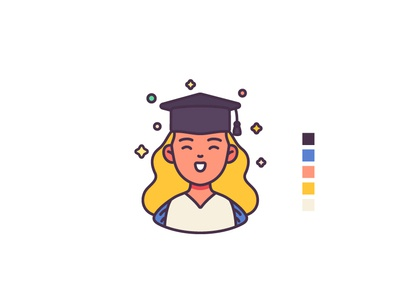 Graduate student illustration graphic design characterdesign icons avatar