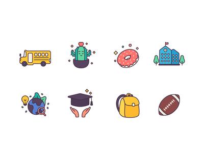 Back to school icons avatar vector logo characterdesign illustration design icons