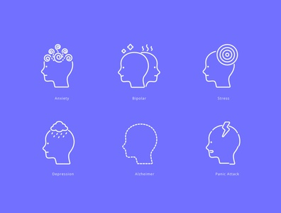 Mental Illness Icons sign symbol mental health medical design graphic design vector illustration icons