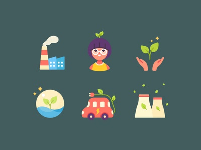 Go Eco Elements icons color ecology elements flat branding character design vector icons avatar illustration design