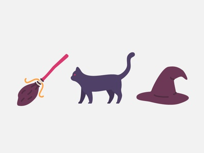 Halloween Elements elements game art game witch cat halloween logo vector character design graphic design illustration icons