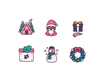 Lovely Christmas Elements colors color cute elements characterdesign avatar graphic design illustration christmas icons
