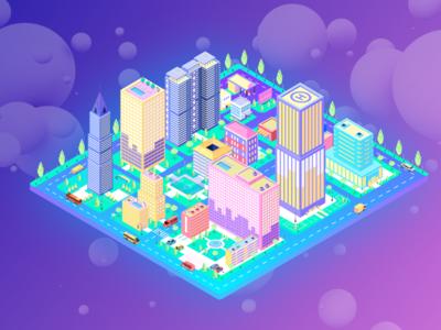 BIM holographic technology platform city illustrations