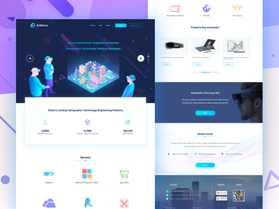 BIMholo Holographic Technology Platform Home ui design ux ue ui interface interactive design home page illustration product reality mixed web visualization building hololens icons