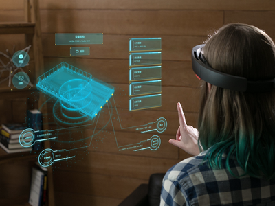 5G equipment Hololens mixed reality display solution ar ui design ux ue ui microsoft particle wireframe model display hud 3d 5g equipment holographic mixed reality mr hololens