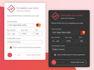 Credit Card Checkout (#DailyUI #002) web design ux ui challenge ui credit card checkout credit card payment checkout modal dailyui 002