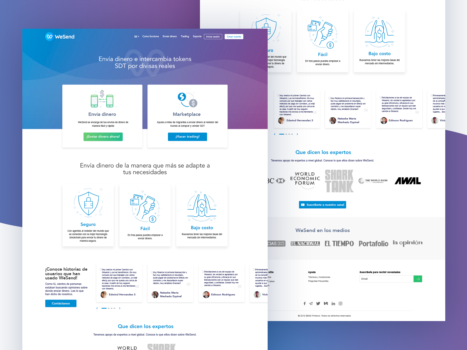 WeSend Marketplace trading landing page design landing design cryptocurrency crypto blockchain marketplace landingpage design concept web design ui