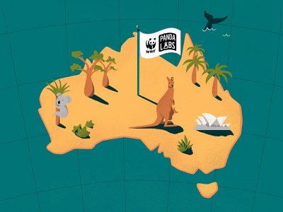 The birthplace of Panda Labs continent nature cute bear illustration wwf australian sydney opera house sydney kengaroo koala bear koala panda labs panda aussie australia
