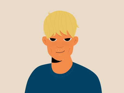 Portrait of Darius peoples mischievous guy illustration men blonde adult mischief smirk eyes hair head face person freckles characterdesign male man character portrait