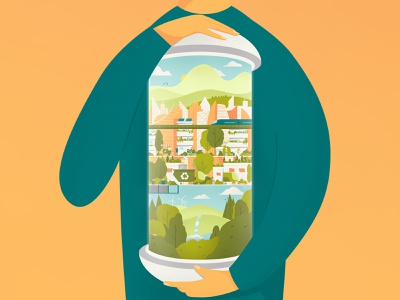 Green City in a Capsule illustration trees clean city hands future streets sofia recycle sustainable ecological mountain forest eco friendly capsule stacked city illustration green city green eco city