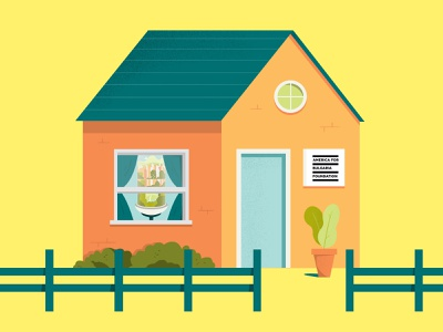 A little house for big ideas building flat house ecological fresh green bright illustration household ngo work address living live home fence resident small house house illustration foundation house
